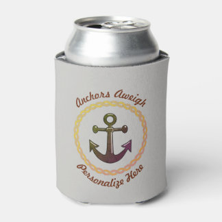 Anchor and Rope Personalized Can Cooler