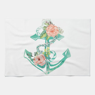 Anchor and Roses Hand Towel