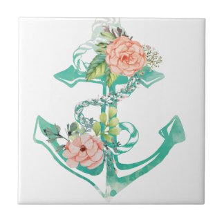 Anchor and Roses Small Square Tile