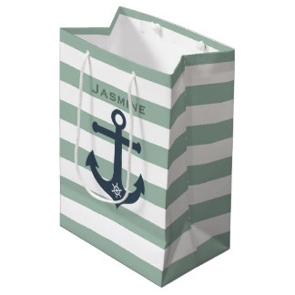 Anchor and ships wheel mint patterns customisable medium gift bag