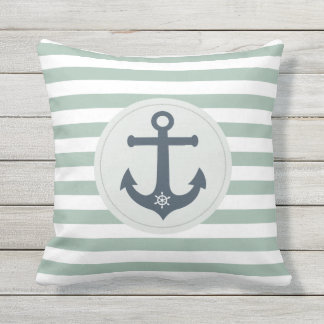 Anchor and ships wheel  mint stripes nautical outdoor cushion