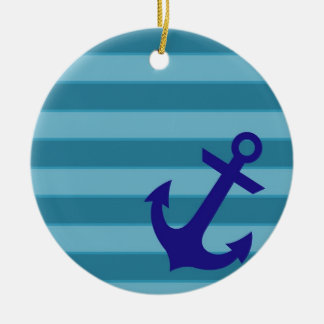 Anchor and Stripes Ceramic Ornament
