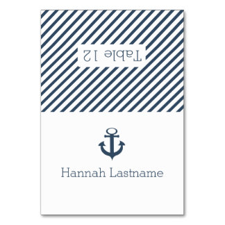 Anchor and Stripes Nautical Seating Card