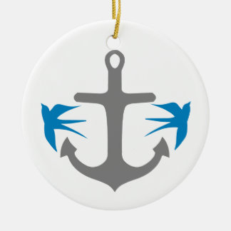 Anchor and Swallows Ceramic Ornament