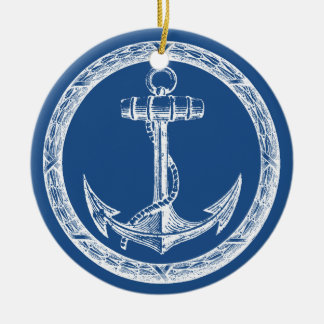 Anchor and Wreath Ceramic Ornament