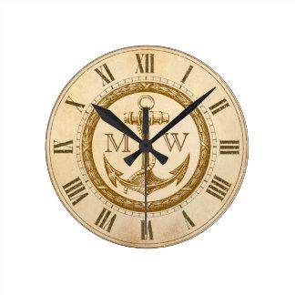 Anchor and Wreath Monogram Clock