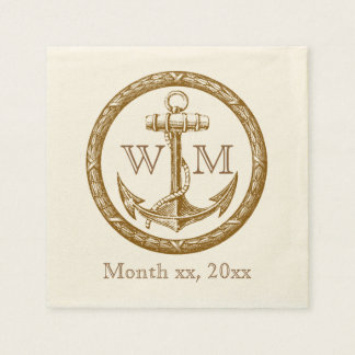 Anchor and Wreath Monogram Paper Napkin