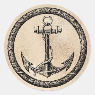 Anchor and Wreath Round Sticker