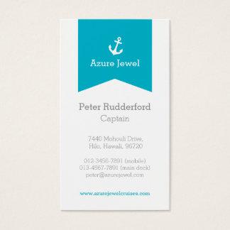 Anchor aqua blue white yacht business card