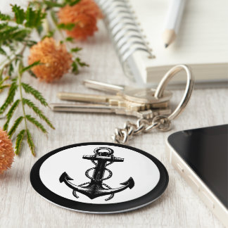 Anchor black and white basic round button key ring