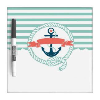Anchor, blue,red, Nautical retro sailor girly Dry Erase Board