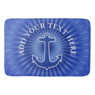 Anchor blue / white Contour + your ideas Bath Mat