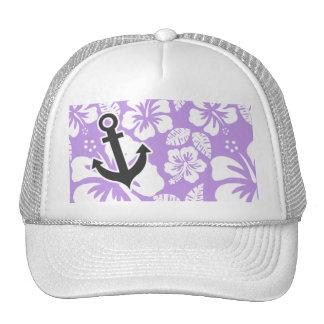 Anchor; Bright Lavender Tropical Hibiscus Cap