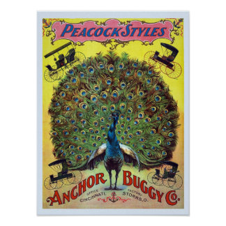 Anchor Buggy Peacock Styles Vintage Poster