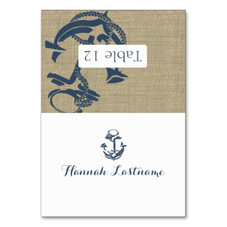 Anchor Burlap Seating Card Table Cards