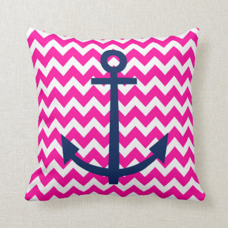 Anchor Chevron Nautical Pink and Navy Throw Pillow