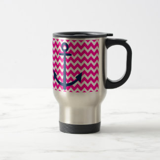 Anchor Chevron Nautical Pink and Navy Travel Mug