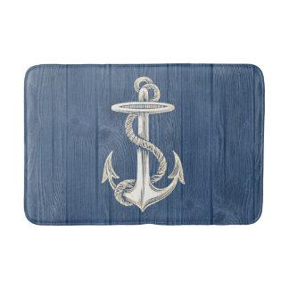 Anchor Cream Vintage Blue Wood Bath Rug