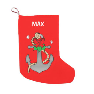 Anchor Decorated for Christmas Name Customizable Small Christmas Stocking