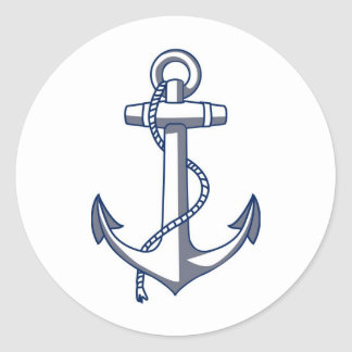 Anchor Drawing Nautical Wedding Theme Navy Blue Round Sticker