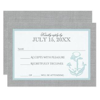 Anchor Grey Nautical Response Card 9 Cm X 13 Cm Invitation Card