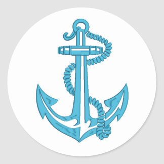 anchor - imitation of embroidery classic round sticker