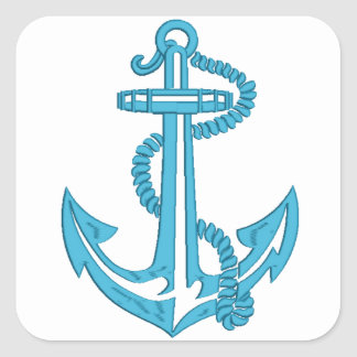 anchor - imitation of embroidery square sticker