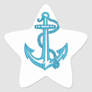 anchor - imitation of embroidery star sticker
