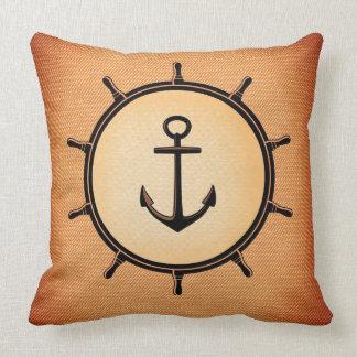 Anchor in ship wheel Cute and Elegant Nautical Throw Pillow