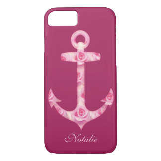 Anchor iPhone 7 case Floral pink rose flower
