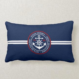 Anchor Label Nautical Lumbar Pillow - Navy Blue