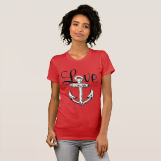 Anchor Love cute nautical  beach cottage shirt red