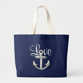 Anchor Love cute nautical  beach cottage  tote bag