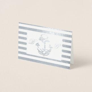 Anchor Monogram Nautical Thank You Foil Card