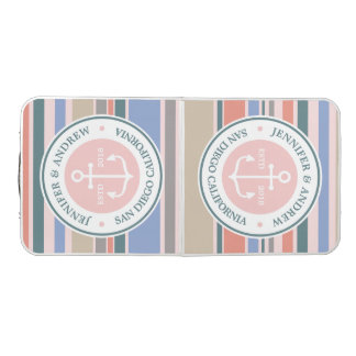 Anchor Monogram Trendy Stripes Pink Nautical Beach Beer Pong Table