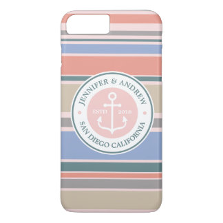 Anchor Monogram Trendy Stripes Pink Nautical Beach iPhone 8 Plus/7 Plus Case
