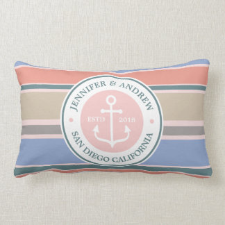 Anchor Monogram Trendy Stripes Pink Nautical Beach Lumbar Cushion