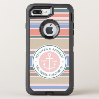 Anchor Monogram Trendy Stripes Pink Nautical Beach OtterBox Defender iPhone 8 Plus/7 Plus Case