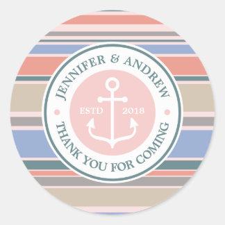 Anchor Monogram Trendy Stripes Pink Nautical Beach Round Sticker