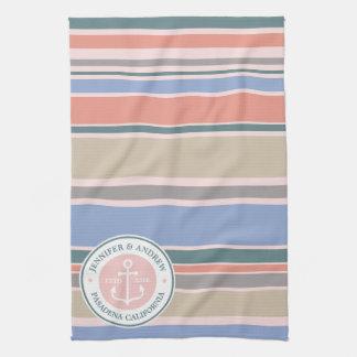 Anchor Monogram Trendy Stripes Pink Nautical Beach Tea Towel