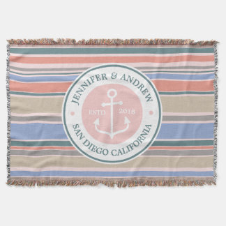 Anchor Monogram Trendy Stripes Pink Nautical Beach Throw Blanket