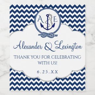 Anchor Monogram Wedding Favor Navy Blue Chevron Wine Label