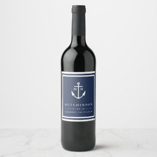 Anchor Monogram Wedding Favor Wine Labels
