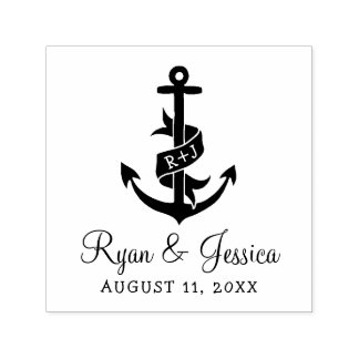 Anchor Monogram Wedding Stamp