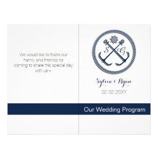 Anchor Monograms, Nautical wedding bifold programs Flyer