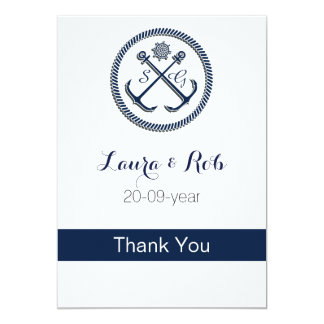 Anchor Monograms, Nautical Wedding 13 Cm X 18 Cm Invitation Card