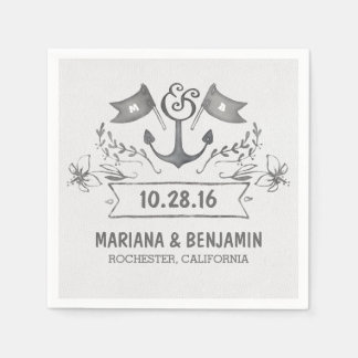 anchor nautical beach wedding paper napkins