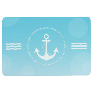 Anchor Nautical Modern Gradient Blue Floor Mat
