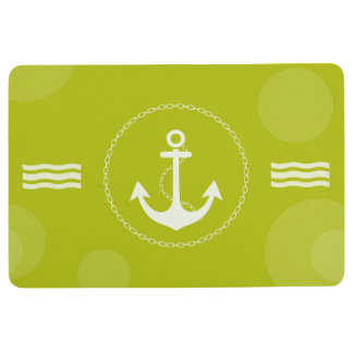 Anchor Nautical Modern Lime Green Floor Mat