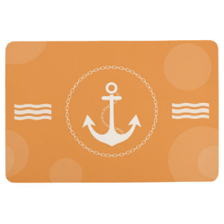Anchor Nautical Modern Orange Floor Mat